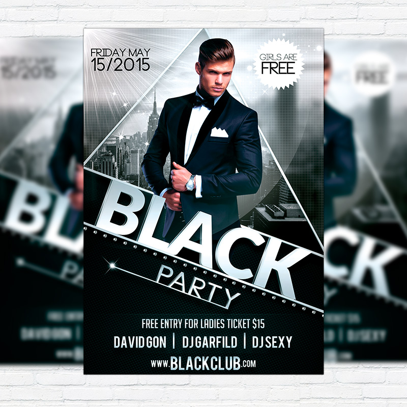 Black Party  Premium Flyer Template  Facebook Cover