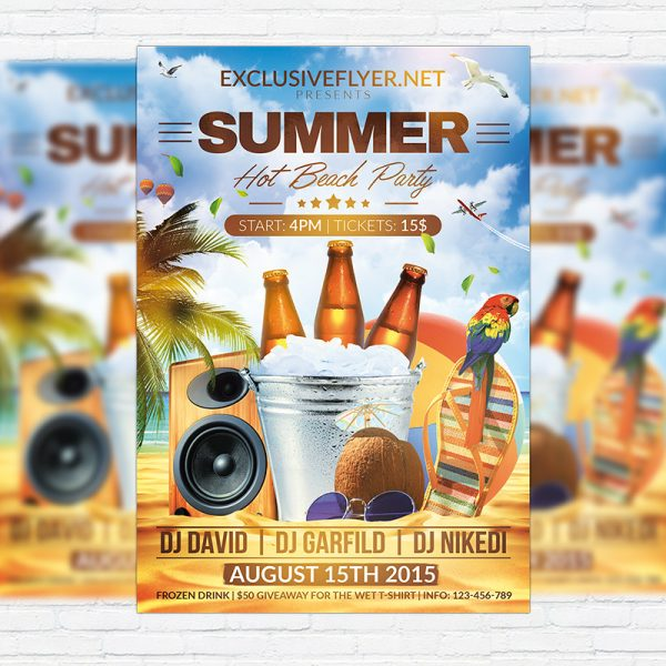 Summer Hot Beach Party - Premium Flyer Template + Facebook Cover
