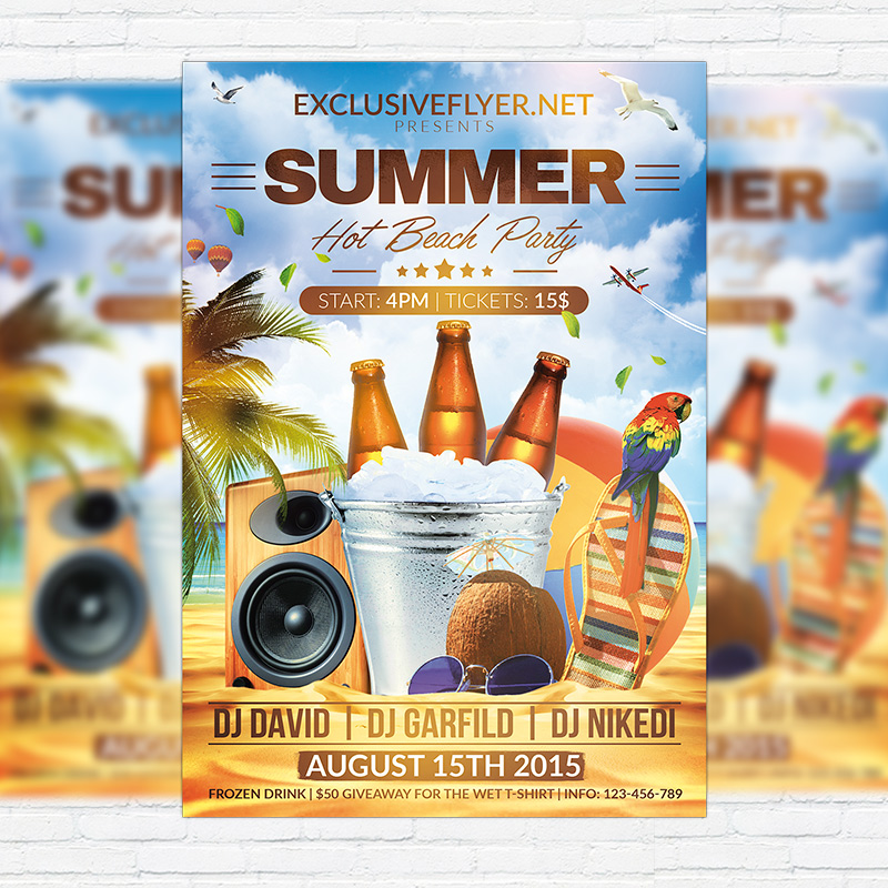 Summer Hot Beach Party  Premium Flyer Template  Facebook Cover