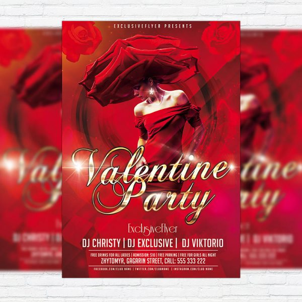 Valentine Romantic Love Party - Free Club and Party Flyer PSD Template