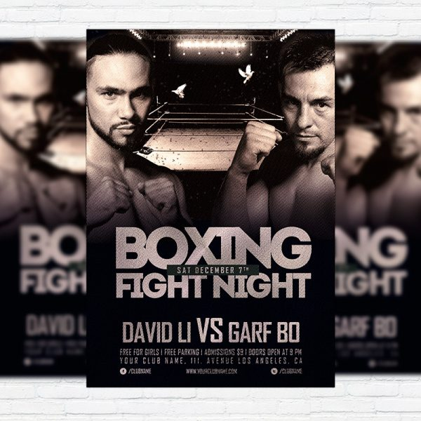 Boxing Fight Night - Premium Flyer Template + Facebook Cover