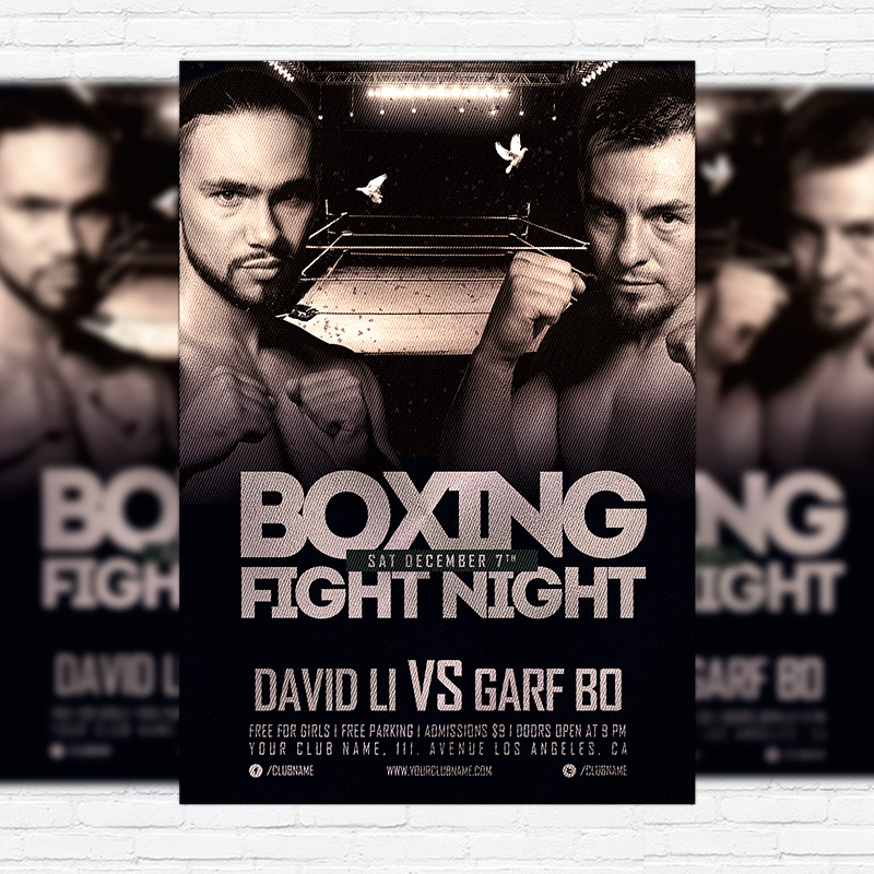 Boxing Fight Night – Premium Flyer Template + Facebook Cover ...