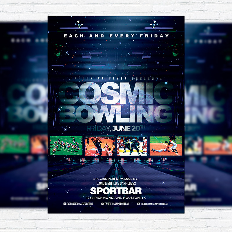 Cosmic Bowling Premium Flyer Template Facebook Cover