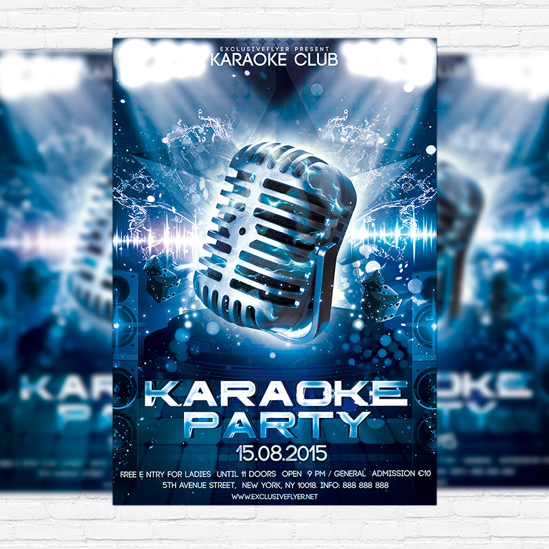karaoke party � premium psd flyer template exclsiveflyer