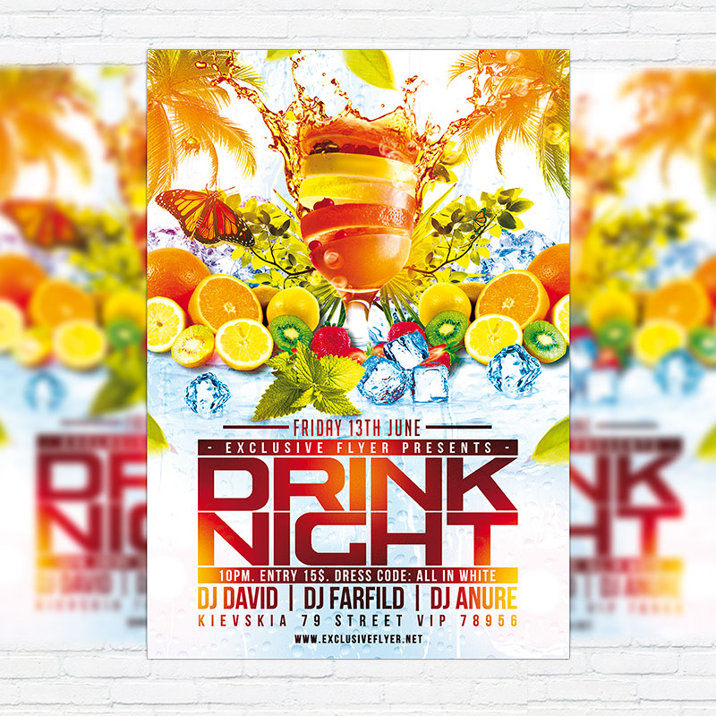 Drink Night Premium Flyer Template Facebook Cover