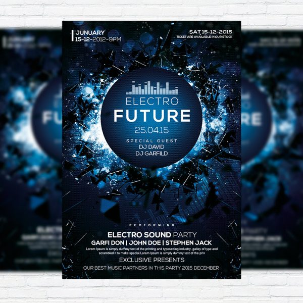 Electro Future Vol.3 - Premium Flyer Template + Facebook Cover