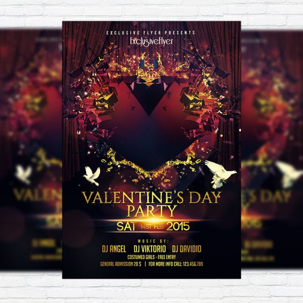 Valentine`s Day Party - Premium PSD Flyer Template