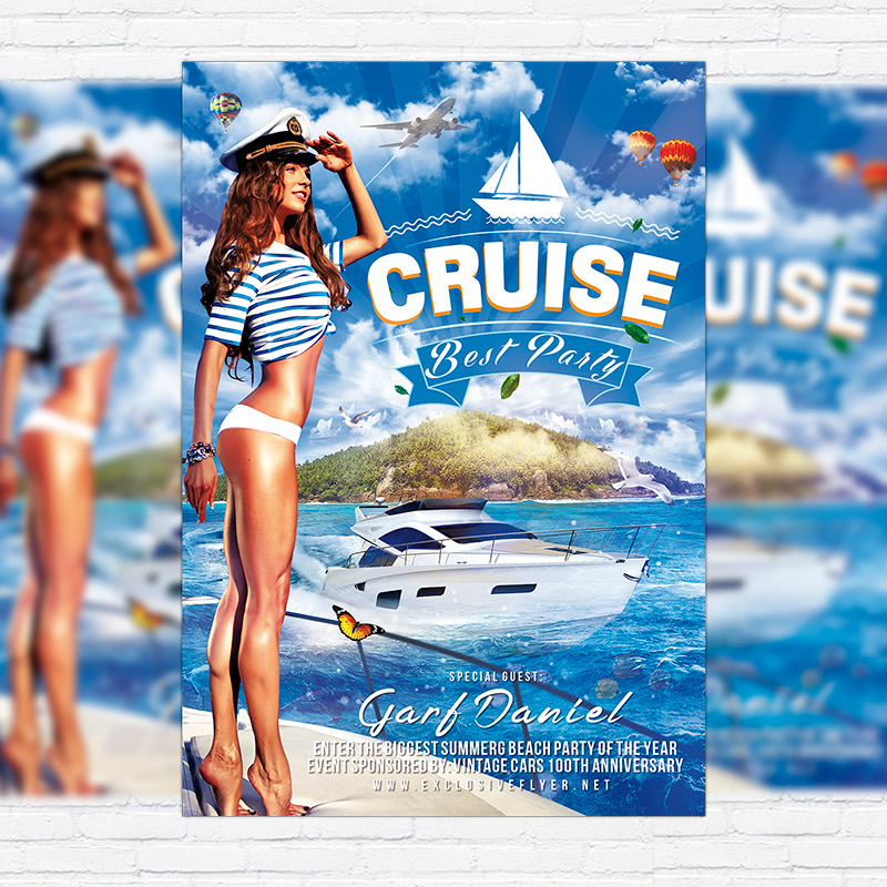 Cruise Best Party  Premium Flyer Template  Facebook Cover