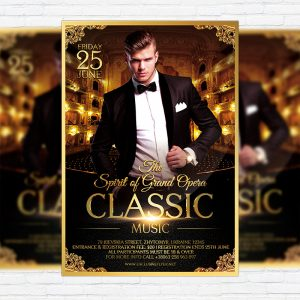 Classic Music - Premium Flyer Template + Facebook Cover