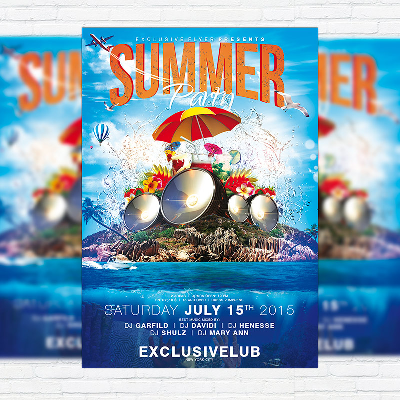 summer party vol 4 psd flyer template facebook cover