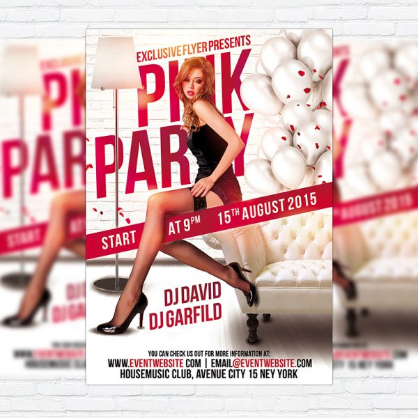 Pink Party - Premium Flyer Template + Facebook Cover