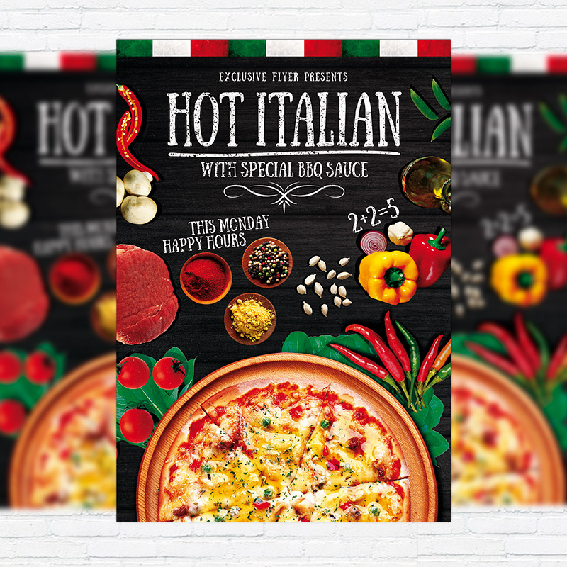 hot pizza premium flyer template facebook cover