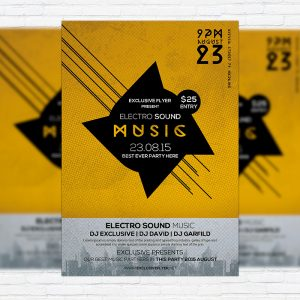 Electro Sound Music - Premium Flyer Template + Facebook Cover