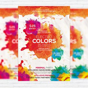 Electro Colors - Premium Flyer Template + Facebook Cover