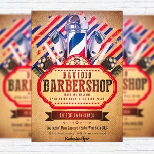 Barbershop - Premium Flyer Template + Facebook Cover