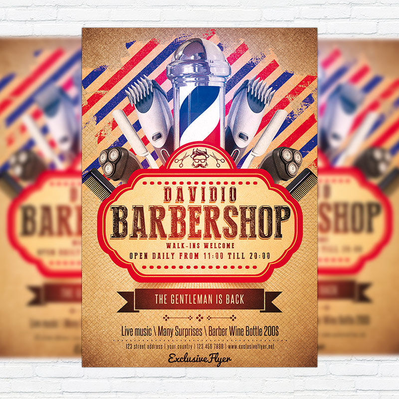 barbershop premium flyer template facebook cover