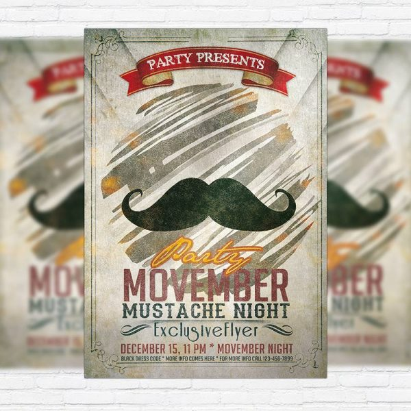 Movember Party - Premium PSD Flyer Template