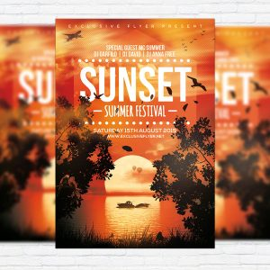 Sunset Summer Festoval - Premium Flyer Template + Facebook Cover