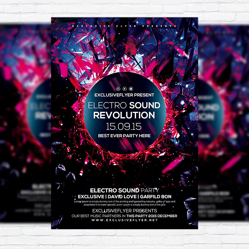 Electro Sound Revolution  Premium Flyer Template  Facebook Cover