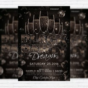 Black Party Dreams - Premium Flyer Template + Facebook Cover