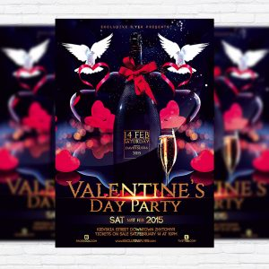 Valentines Day Party – Premium Flyer Template + Facebook cover