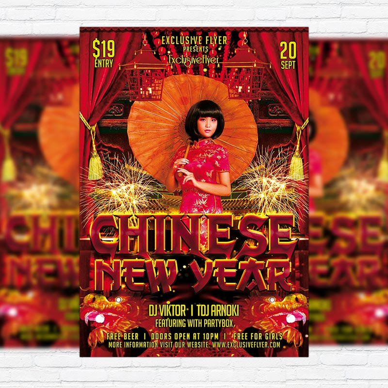 exclusive chinese new year free club and party flyer psd template