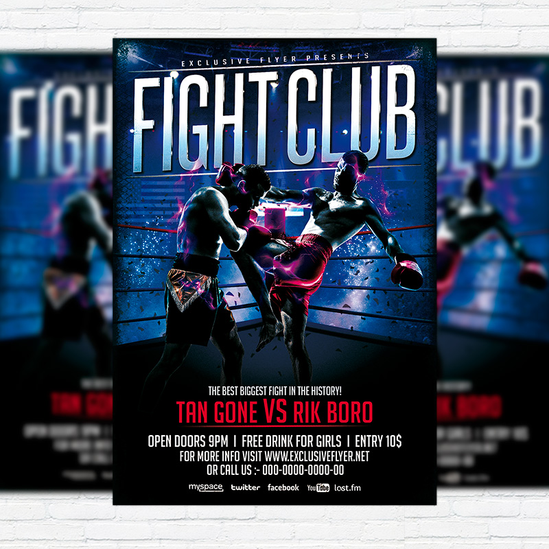 Fight Club  Premium Flyer Template  Facebook Cover