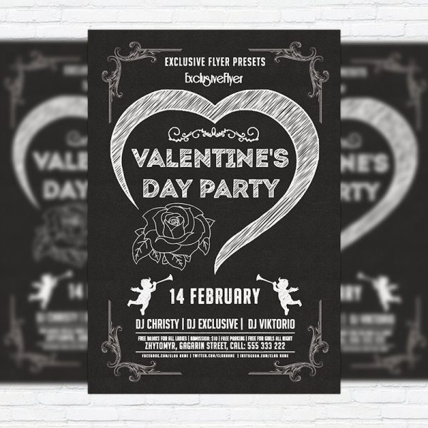 Minimal Valentine's Day Party - Premium PSD Flyer Template