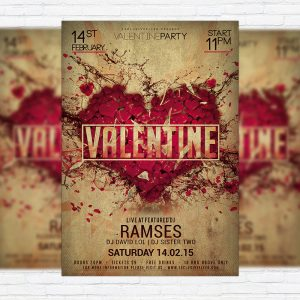 Valentine Party Night - Premium PSD Flyer Template