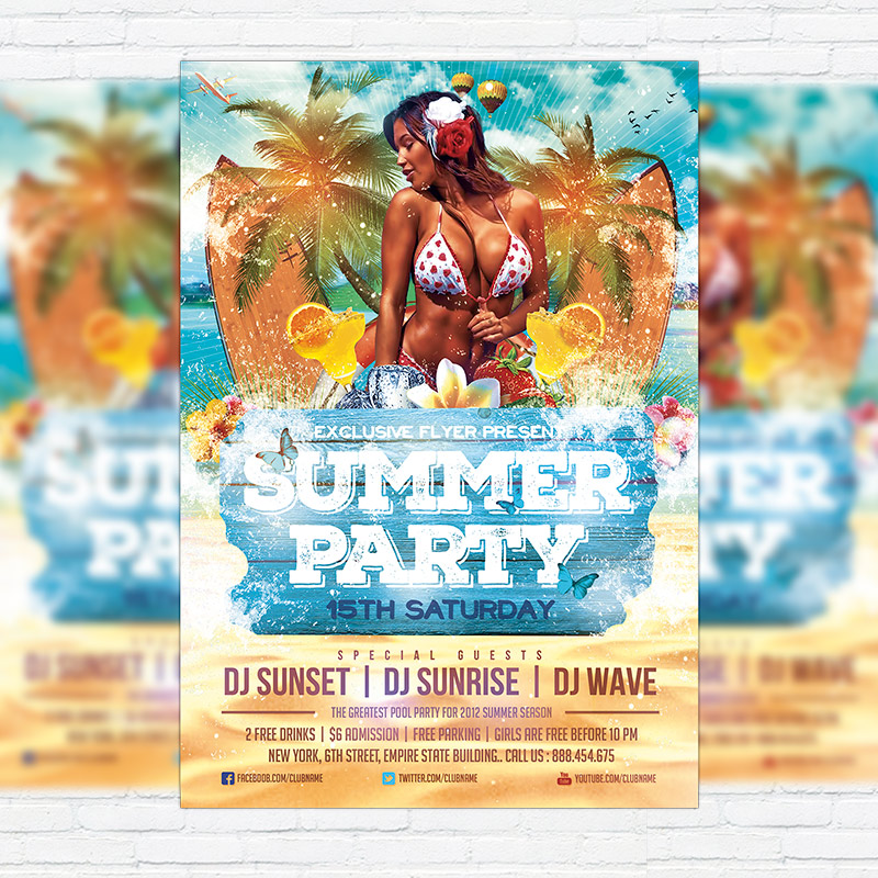 Summer Party Vol  Premium Flyer Template  Facebook Cover
