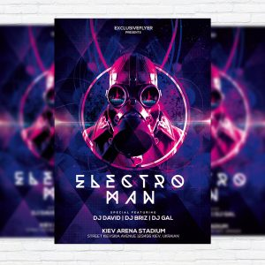 Electro Man Party – Premium PSD Flyer Template + Facebook Cover