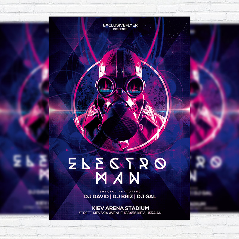 Electro Man Party Premium PSD Flyer Template Facebook Cover – Electro Flyer