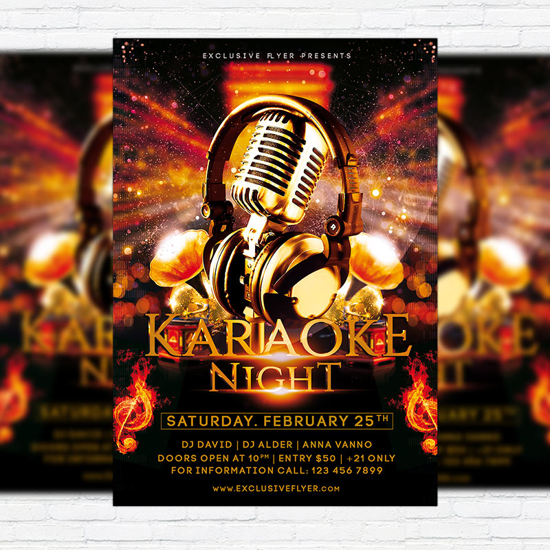 Karaoke Night   Premium PSD Flyer Template