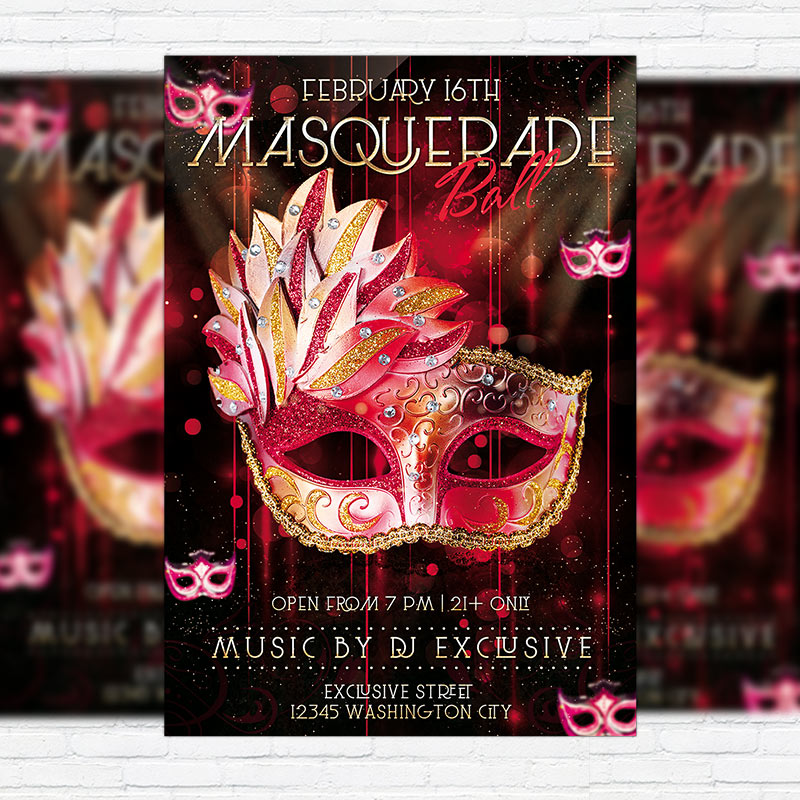 masquerade ball premium psd flyer template