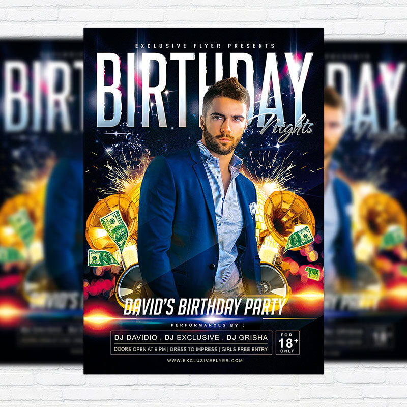 Birthday Nights  Premium Psd Flyer Template  Exclsiveflyer