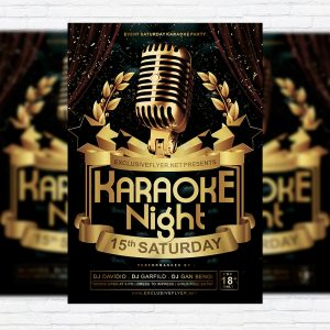 Karaoke Night Vol.2 - Premium Flyer Template + Facebook Cover