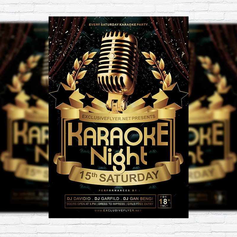 Karaoke Night Vol.2   Premium Flyer Template + Facebook Cover