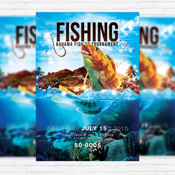Fishing - Premium PSD Flyer Template + Facebook Cover
