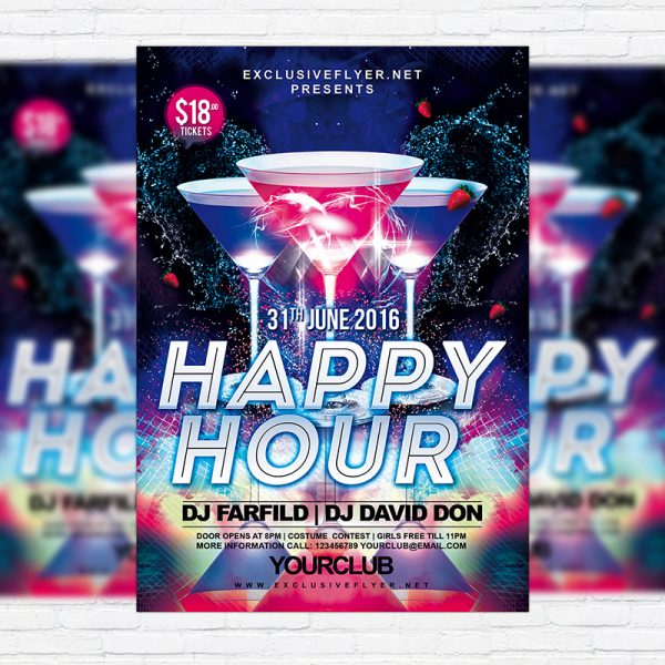 Happy Hour - Free Club and Party Flyer PSD Template