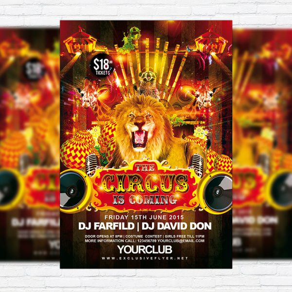 Circus - Free Club and Party Flyer PSD Template