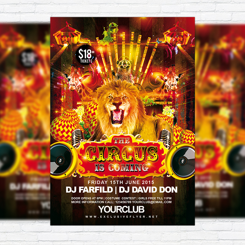 Circus Free Club And Party Flyer Psd Template Exclsiveflyer