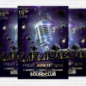 Karaoke - Premium Flyer Template + Facebook Cover
