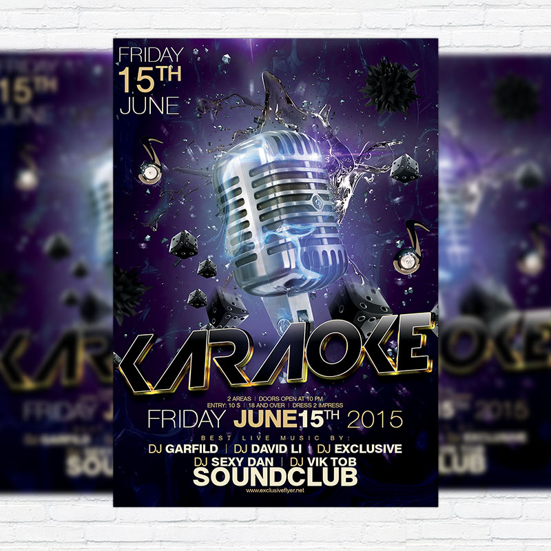Karaoke – Premium Flyer Template + Facebook Cover | Exclsiveflyer
