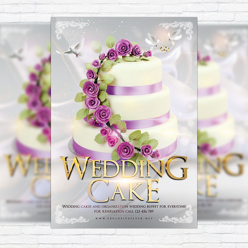 Wedding Cake Premium Flyer Template Facebook Cover