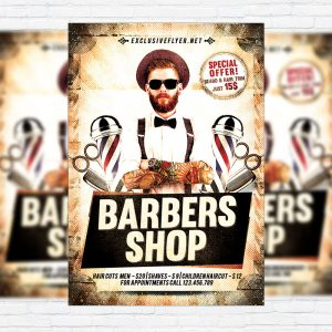 Barbers Shop - Premium Flyer Template + Facebook Cover