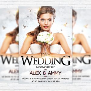 Wedding Day - Premium Flyer Template + Facebook Cover