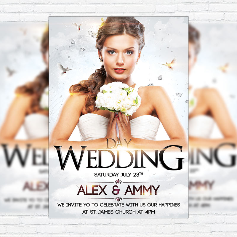 Wedding Day  Premium Flyer Template  Facebook Cover