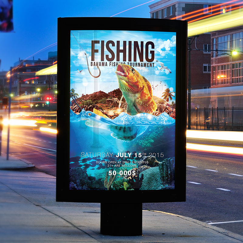Fishing Premium Psd Flyer Template Facebook Cover