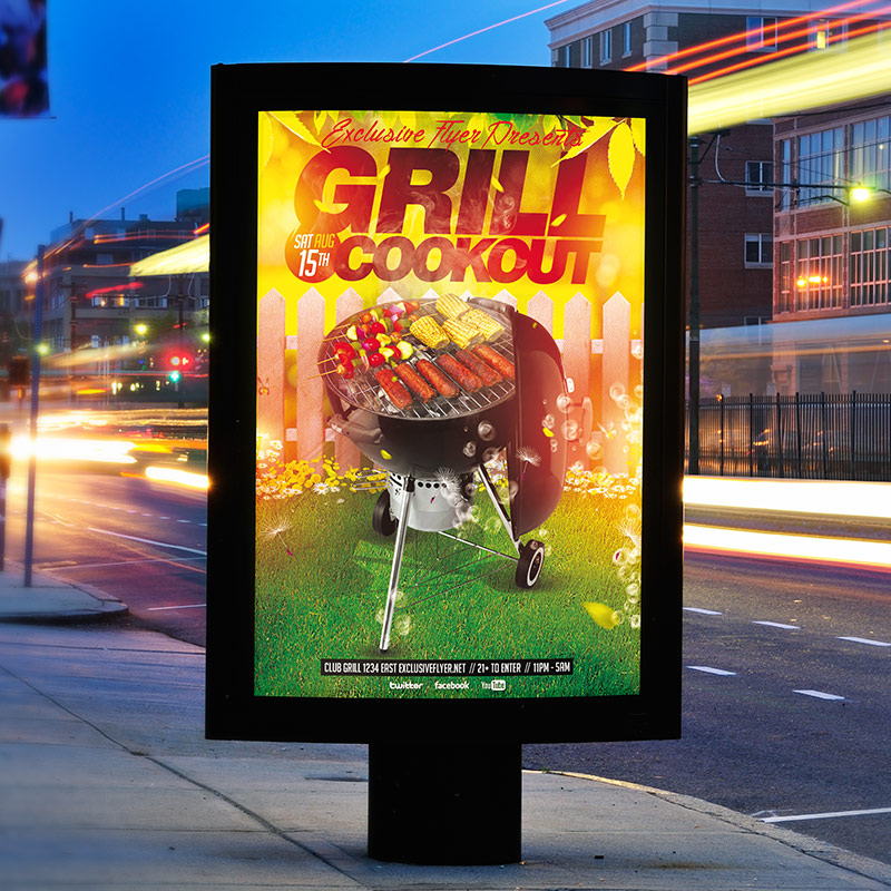 Grill Cookout - Premium Flyer Template + Facebook Cover ...
