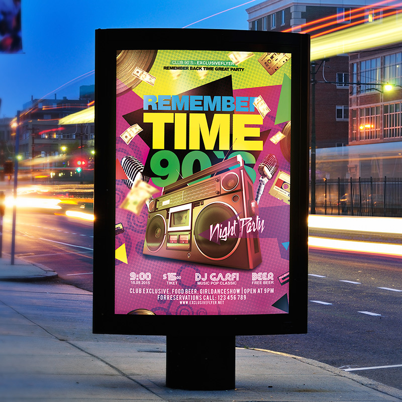 poster template 90 x 120cm - remember time 90 s premium flyer template facebook